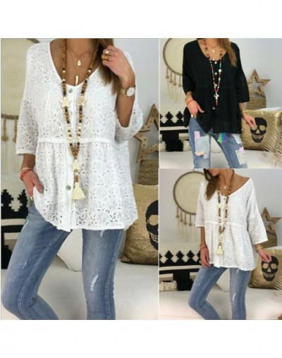 Lace floral blouse Hot summer 2019 New Clothes Women ladies fashion loose hollow out casual holiday Pullover White Black Top...