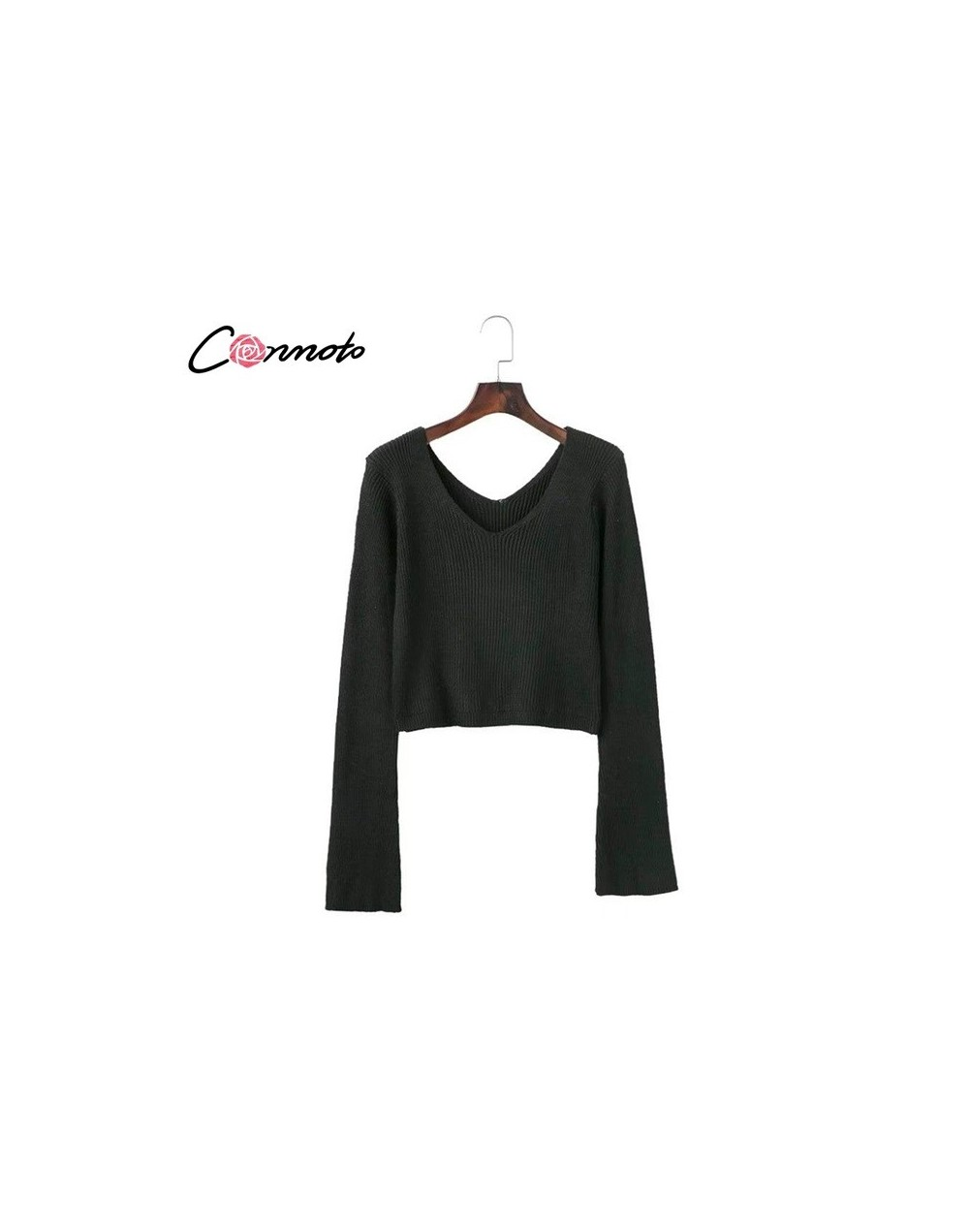 Sexy V-neck Women Sweater Black Flare Sleeve Pullover 2018 Autumn Winter Jumper Knit Outerwear Female - Black - 473909273523-1