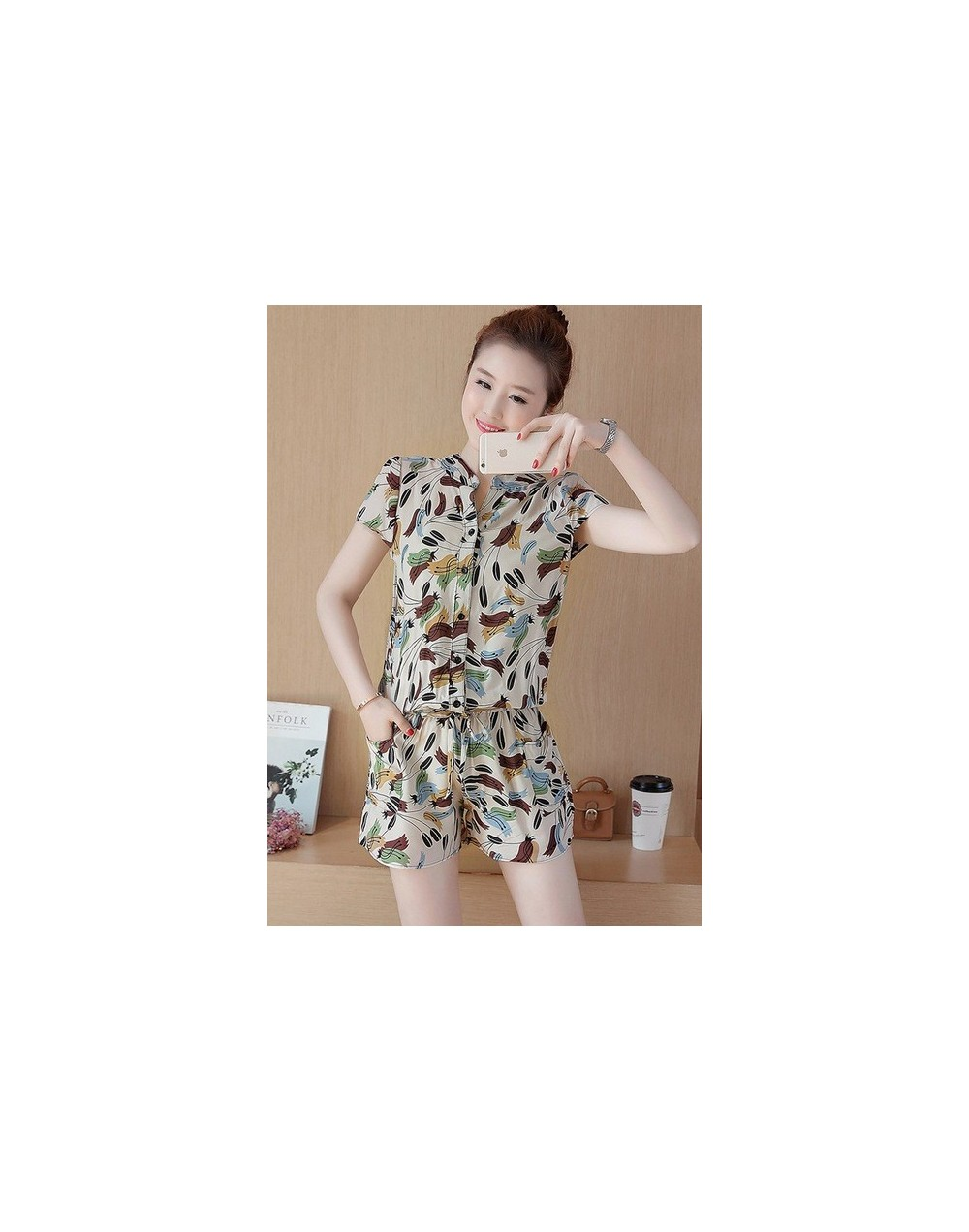 Summer Women Jumpsuit 6 Patterns Cat Horse Print Single-Breasted Elastic Waist With Sashes Rompers Overalls macacao S74406 -...