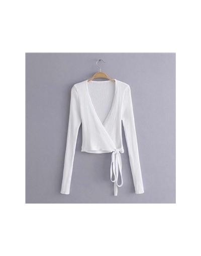 Fashion V Neck Bandage Vintage Long Sleeve Women T-shirt Retro tshirt women Sexy Knitted Cropped t shirts Drop shipping - JJ...