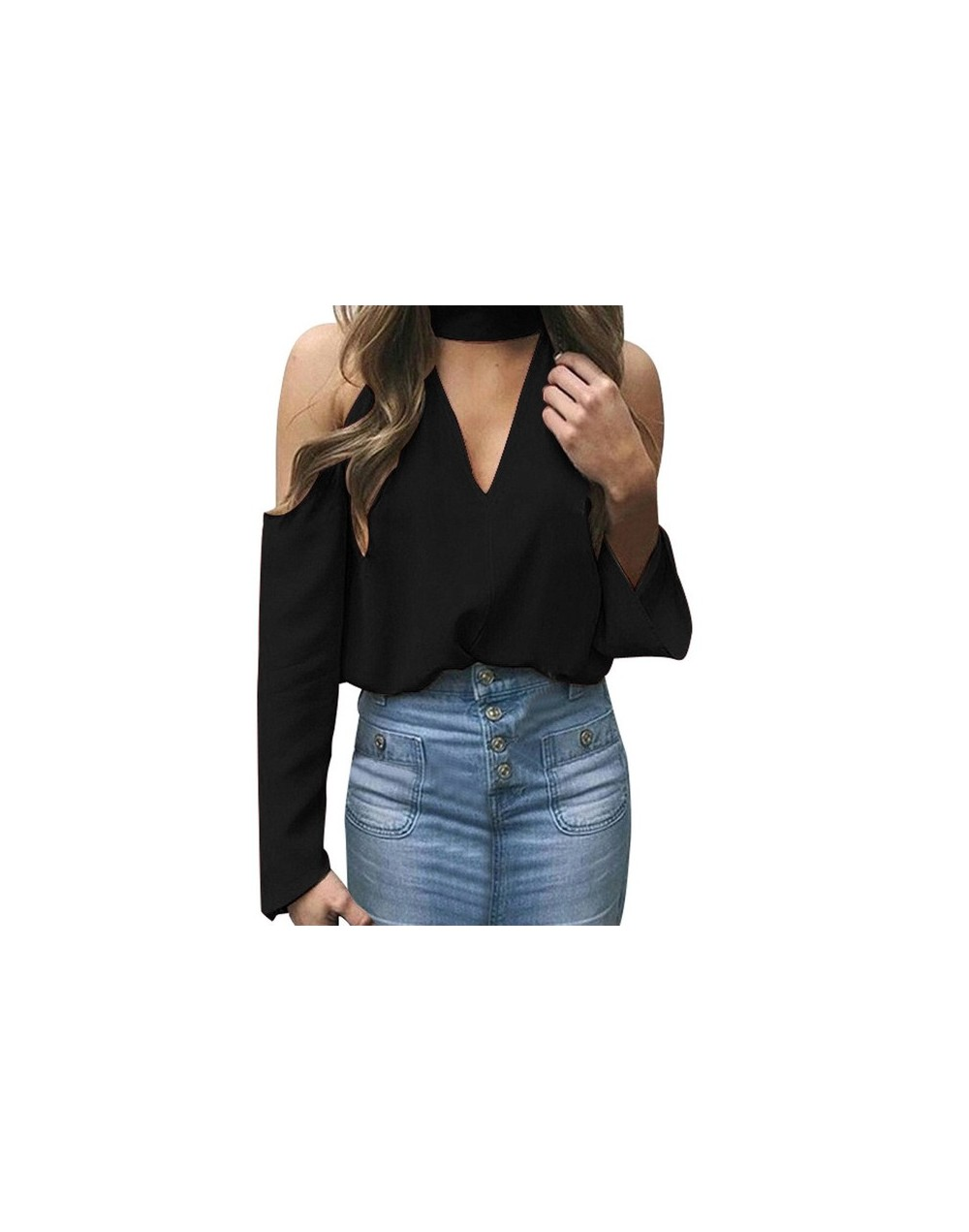 Women Long Sleeve T-shirt Sexy Off the Shoulder Halter V-neck vogue style female strapless long sleeve hanging neck clothing...