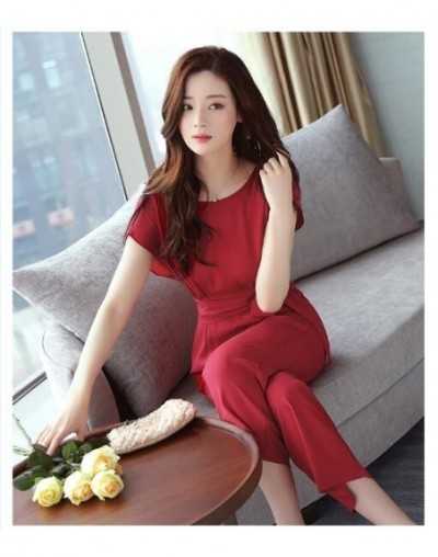 2018 Summer Women jumpsuits short sleeve O-neck fashion new style Lady solid color jumpsuits - Red - 4L3932209066-2