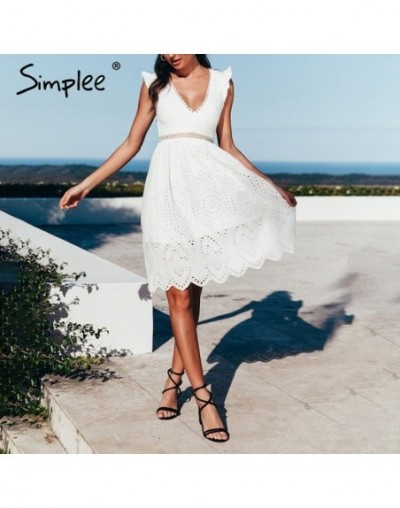 Sexy white women summer dress 2019 Backless v neck ruffle cotton lace dress Vintage holiday beach short female vestidos - Wh...
