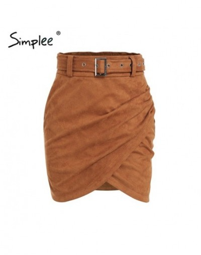 Sexy wrap suede women leather skirt High waist sashes solid mini skirts Autumn winter outwear pencil skirts female 2018 - Ca...