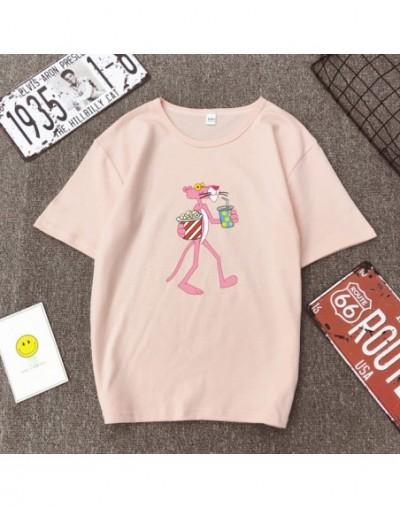 Cute Cartoon Pink Panther Women T-shirt Spring Summer New Short Sleeve O Neck Cotton Spandex T shirt Femme Loose Women Tops ...
