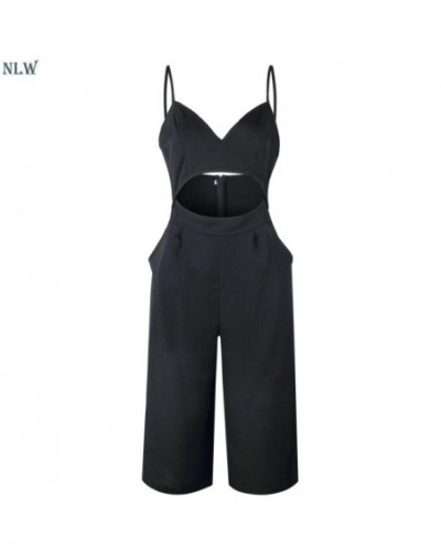 2019 Summer Women Casual Spaghetti Strap Backless Jumpsuit Female High Waist Wide Leg Rompers Hollow out Plus Size Jumpsuit ...