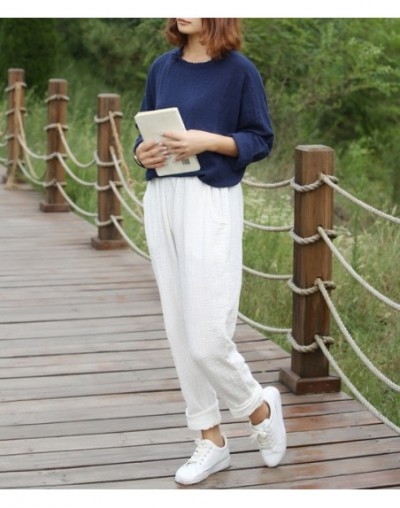 Vintage Soft Women Loose Cotton Linen Pants Elastic Waist Solid Casual Ladies Pencil Trousers Pockets 2018 New Pantalon Femm...