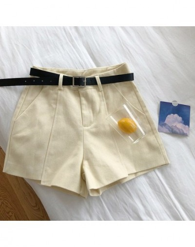 Shorts Women Casual Trendy Summer Korean Solid Literary Flare Womens Pockets High Sashes Elegant Ladies Simple Loose Zipper ...