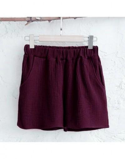 Women Shorts 2019 Summer Women Leisure Elastic Waist Shorts Soft cotton linen Casual Short Pants plus size M - 6XLl - wine r...