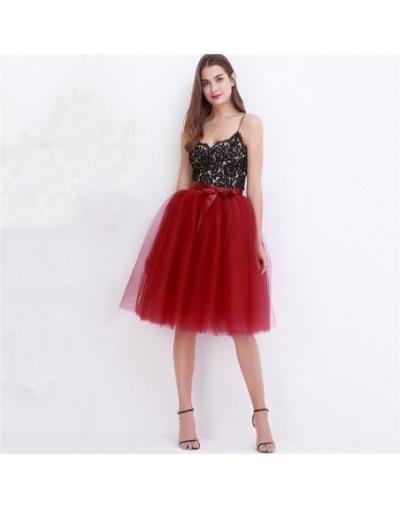 5 Layers 65cm Midi Tulle Skirt Princess Pleated Dance Tutu Skirts Womens Lolita Petticoat Jupe Saia faldas Denim Party Skirt...