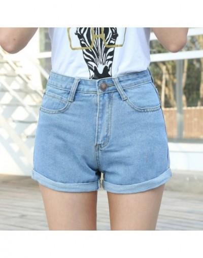 High Waist Denim Shorts Size XL Female Short Jeans for Women 2016 Summer Ladies Hot Shorts solid crimping denim shorts - Sky...