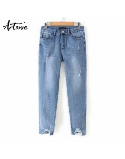 high waist casual denim pencil pants women summer 2019 hole ripped streetwear boyfriend jeans mujer skinny pants female - Bl...