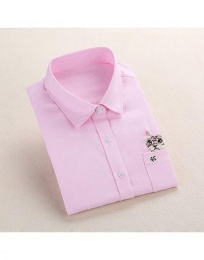Women School Shirt White Blue Tops Ladies Blouses Long Sleeve Shirt Female Office Top Pocket With Cat Embroidery - PinkEcat ...