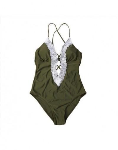 Women One-Piece Beachwear Summer Bodysuits Sleeveless Lace-up V-neck Beach Bodysuit - Army Green - 4N3071784622-2