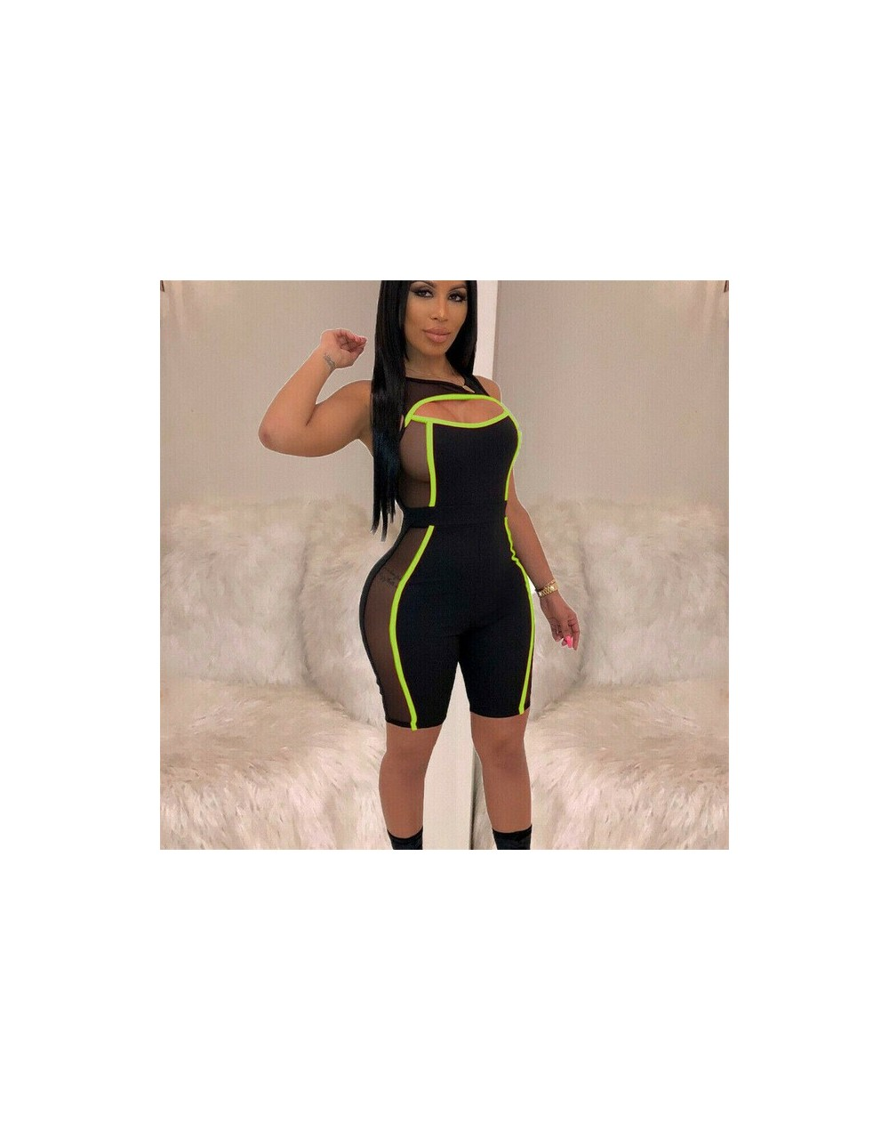 2019 New Women Mesh Patchwork Short Pants Jumpsuits Sleeveless Cut Out Bodycon Playsuit Romper Clubwear Outfit - Green - 400...