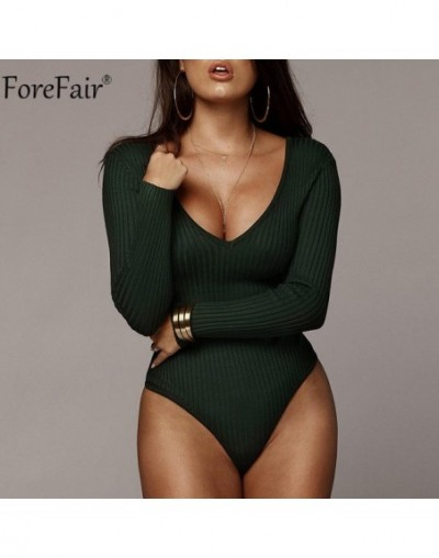Off Shoulder Long Sleeve Women Bodysuit Autumn Winter Kint Black White Blackless V Neck Sexy Body Tops - Dark Green - 551111...