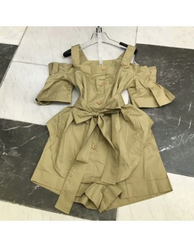 Shorts Suits Female Off Shoulder Ruffles Flare Sleeve Lace Up Bow Shirt With High Waist Pocket Mini Trousers Summer - Khaki ...