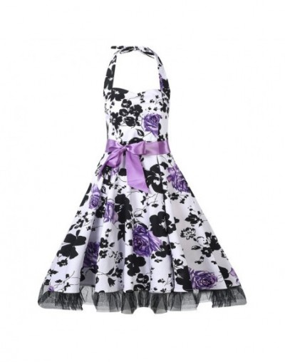 Women Sweet Print Dresses 2019 Summer Sexy Backless Lace Bow Sleeveless Female Strapless Plus Size Dress - SK0001Purple - 4M...