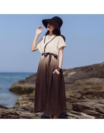 V-neck Summer Dress A-line Vintage Cotton Regular Mid-calf Sashes Long Dress Empire Short Solid Women Dress - coffee - 4T412...