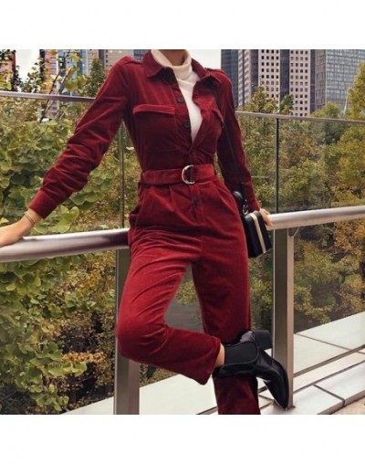 Women's Evening Cocktail Party Jumpsuit Casual Solid Long Sleeve Buttons Romper - Wine Red - 50111223850133