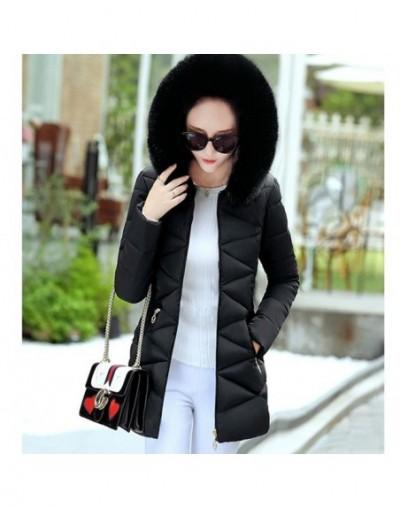 Winter Plaid Cotton Jacket Long Jacket Women Hooded Coat Warm Parka Outerwear Female Down Jacket Winter White Coats A126 - B...
