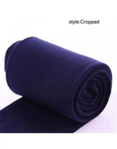 Women Heat Fleece Winter Stretchy Leggings Warm Fleece Lined Slim Thermal Pants Best Sale-WT - Cropped Navy - 4F3078910997-8