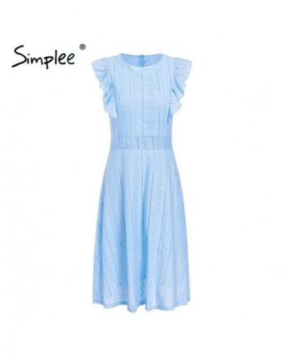 Elegant cotton embroidery women dress Ruffle A-line white dress Lining hollow out zipper party dress robe femme ete 2018 - B...