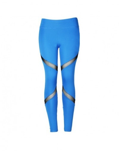 Fitness Sexy High Waist Hips Leggings Gothic Insert Mesh Design Pants Women Large Size Capris Spring Summer Sportswear - Blu...