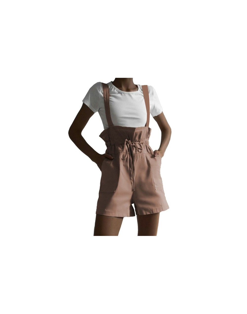 Women Strap Lace Up Short Jumpsuit 2019 Summer High Waist Pocket Playsuits Casual Loose Solid Overalls Playsuit Femme Romper...