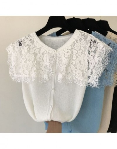 2019 Summer New Women's Knit Lace Collar Cardigans Single Breasted Lace Patchwork Ladies Sweet Casual Summer Outfit - White ...
