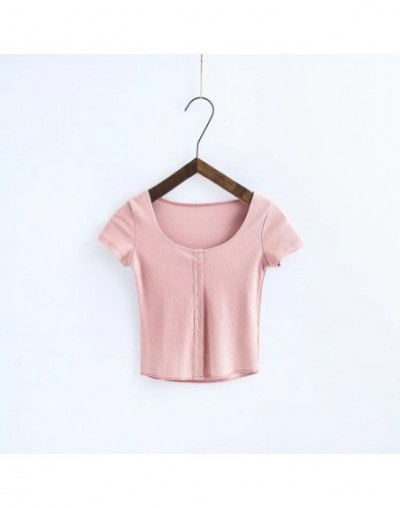 Women Button Placket Ribbed Cotton Blend Short Sleeve T-shirt Girls' Casual Tight-To-The-Body Fit Crop Tops - pink - 4Q38988...