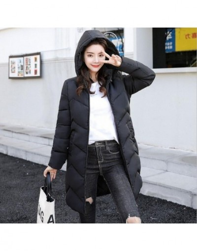 New 2019 Hooded Long Parkas Womans Down Jacket Winter Coat Thick Warm Cotton Padded Jacket Women Warm Winter Jackets Female ...