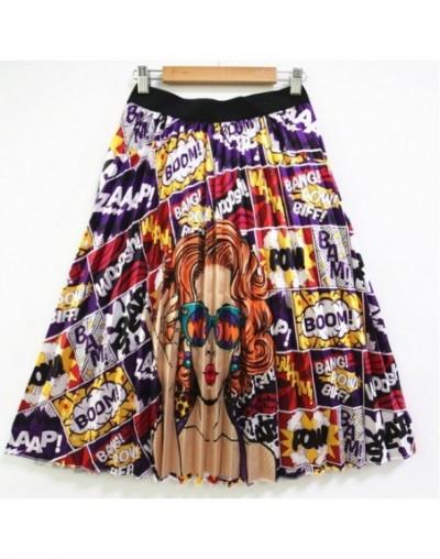 Cartoon Pleated Skirt Long Skirts Womens High Waist Elastic Midi Skirt For Women 2019 Summer Autumn Rok Party Holiday Street...