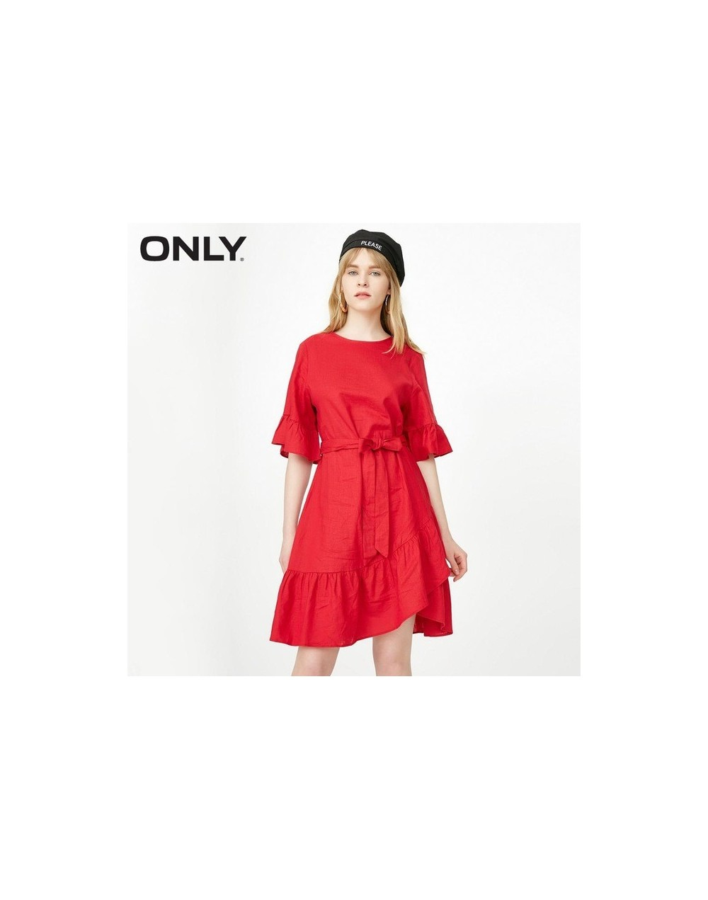 Ruffled Lace-up Cinched Waist Dress 118207528 - Red - 4W3096245251-2