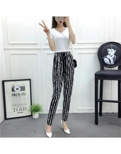 New Fashion Summer Wide Leg Pants Women High Waist Plaid Striped Slim Palazzo Pants Elegant Office Ladies Trousers - C - 4C3...