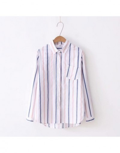 Striped Turn Down Collar Elegant Tops Shirt Office Ladies Workwear Long Sleeve Regular Fit Women Autumn Blouses C6629 - Whit...