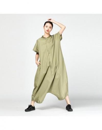 Spring Vintage Overalls For Women O Neck Short Sleeve Ankle-length Loose Oversize Female Jumpsuit 2019 Fashion Korean - gree...