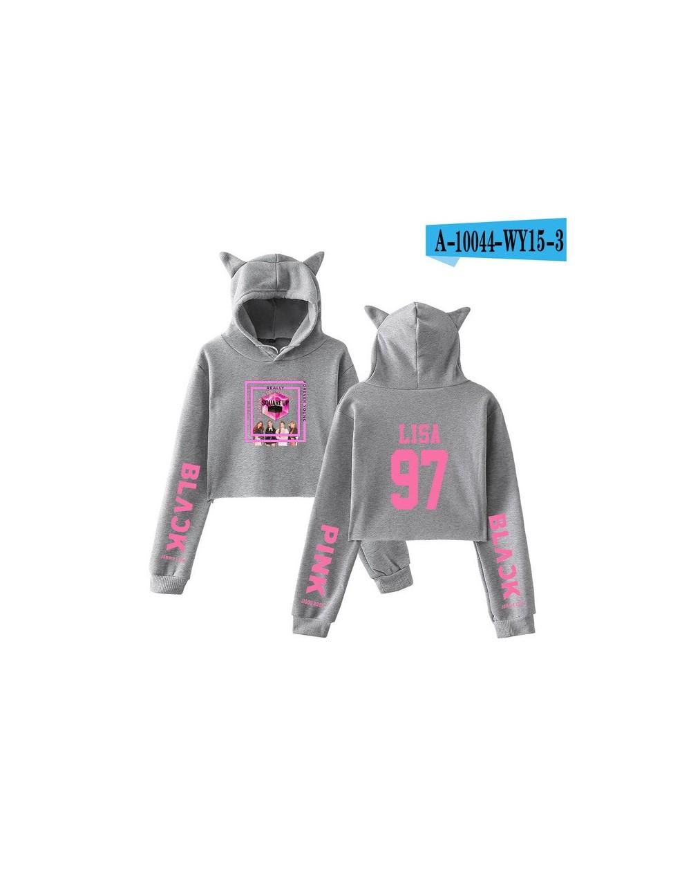 2018 Blackpink kpop oversized hoodies sweatshirts women Black pink Lisa 97 cotton Crop Top Cat Hoodies clothes Plus Size - g...