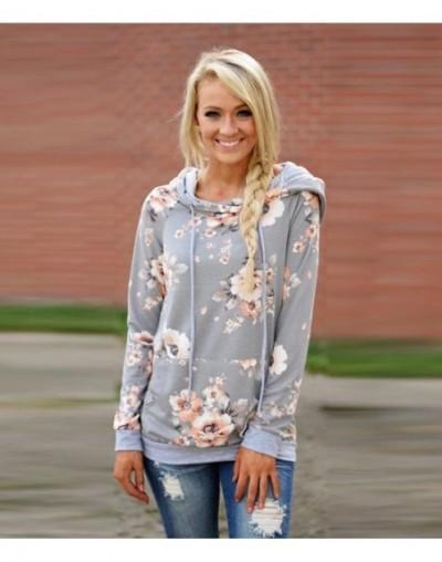 2018 Autumn Fashion Womens Hoodies Long Sleeve Sweatshirt Women Hooded Floral Print Gray Ladies Pullover Kwaii Female Tops -...