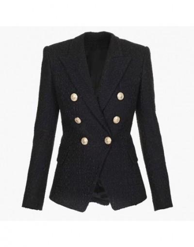 HIGH QUALITY Newest Fashion 2019 Designer Blazer Women's Double Breasted Lion Buttons Tweed Blazer Jacket - 4K3093954073