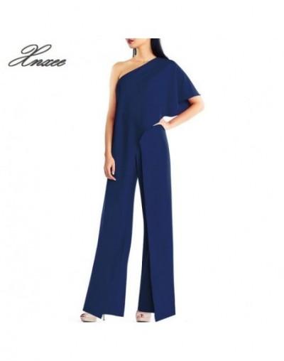 Slash Neck Rompers Womens White Jumpsuit Long Wide Leg Pants Slash Neck Solid Jumpsuit Elegant Party Jumpsuit - Blue - 4Q411...
