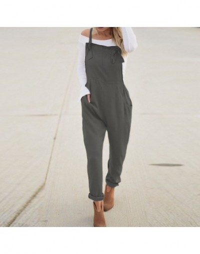 2019 Summer Women Casual Solid Strappy Sleeveless Long Playsuit Jumpsuit Party Turnip Pants Slim Fit Overalls Bodysuit - Gra...