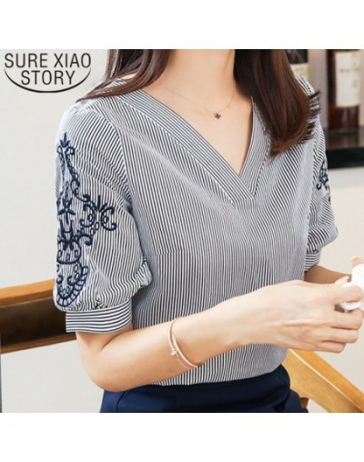 Women blouse and tops 2019 ladies tops Chiffon Blouse Shirts Striped V Neck Embroidery Short Sleeve Female Clothes 0513 40 -...