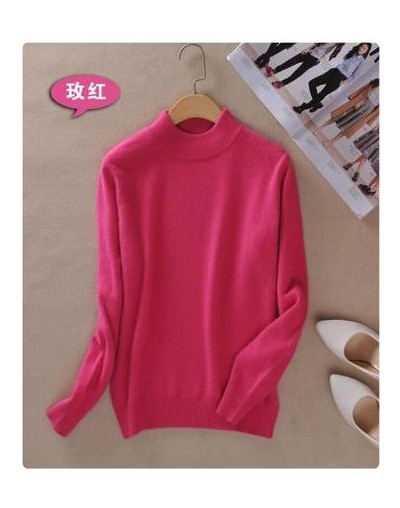New Brand Women Sweater Wool sweater Large Size Thin Pink Pullover Femme 2XL Main Cashmere Knitted Sweater Women - rose Red ...