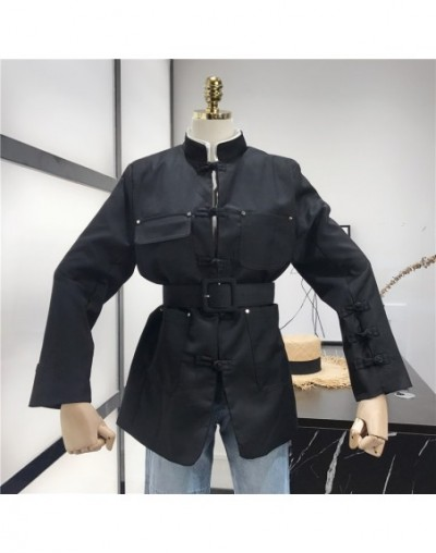 2019 autumn new retro Chinese style belt buckle button collar multi-pocket long suit - Black - 54111257148747