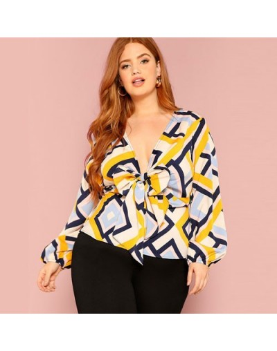 Plus Size Deep V-Neck Bow Front Geometric Print Peplum Shirt Blouse Women Spring Lantern Sleeve Tops and Blouses - Multi - 4...