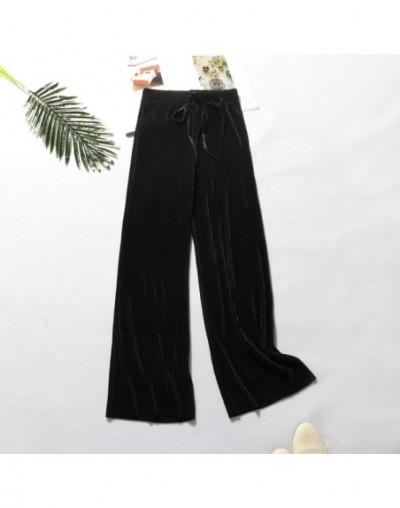 Women Clothes Wide Leg Pants Women's Pants High Waist Loose Casual Pants Chiffon Trousers Ice Silk Nine Points Women Pants -...