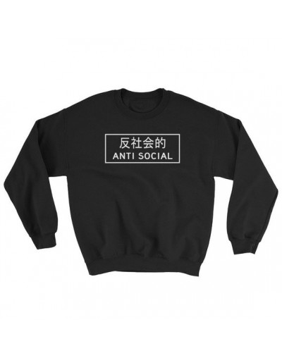 Sugarbaby Anti Social Japanese Harajuku Aesthetic Hoodie Japanese Streetwear Tumblr Gift Unisex Sweatshirt Long Sleeve Jumpe...