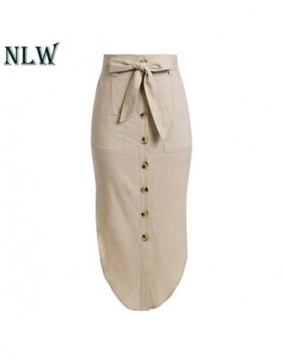 Solid Pocket Beach Skirts Women Casual Midi Skirt Bow High Waist Mujer Linen Button Sexy Skirt Feminino - creamy-white - 493...