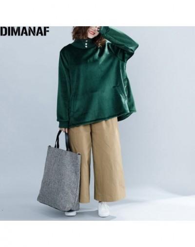 2018 Winter Women Plus Size Hoodies Sweatshirts Style Velour Warm Female Lady Turtleneck Green Pullovers Loose New Tops - Gr...
